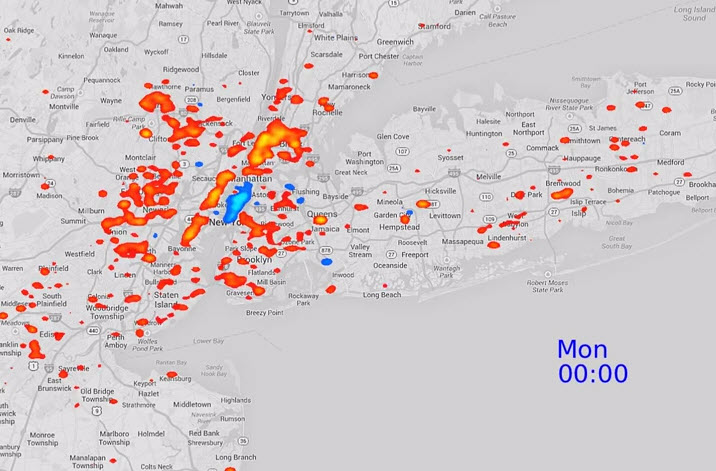 """Twitter Trackers Visualize """"Heartbeat"""" of New York City"""