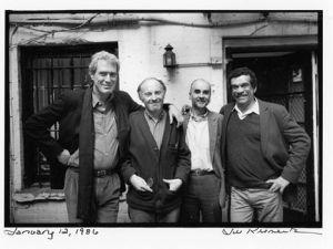Mark Strand, Joseph Brodsky, Adam Zagajewski, and Derek Walcott in Brodsky's garden, January 12, 1986. (Jill Krementz)