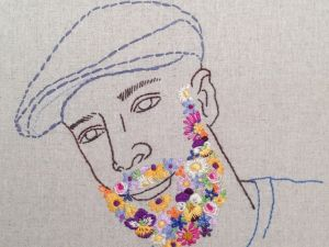 Rebecca Levi's embroidery portrait Flowerbeard. (Photo courtesy of the artist.)