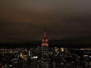 The Empire State Building was lit red a few years ago in honor of World AIDS Day. (Michael Loccisano/Getty Images)