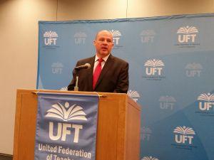 UFT President Michael Mulgrew today. (Photo: Ross Barkan)