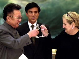 Kim Jong Il toasts US Secretary of State Madeleine Albright at a dinner in Pyongyang on 24 October 2000. (Photo via Getty Images)