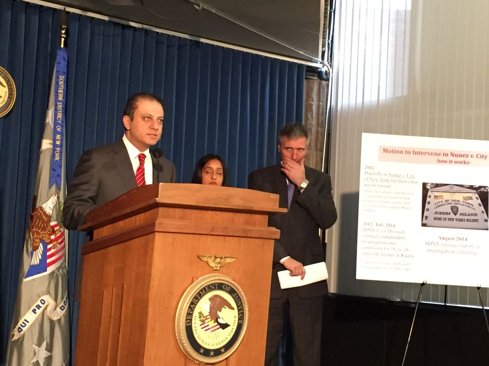 U.S. Attorney Preet Bharara Moves to Sue City Over Violence at Rikers Island