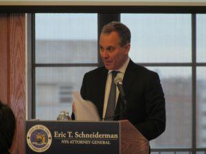 Attorney General Eric Schneiderman today (Photo: Will Bredderman).