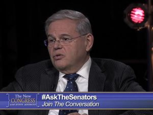 """Screencap from NJTV's airing of the """"New Congress"""" with Steve Adubato at NJPAC."""