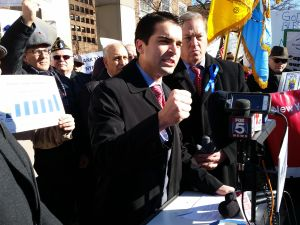Councilman Eric Ulrich speaks at a pro-NYPD rally.