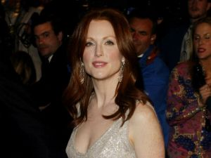 Julianne Moore at last year's Oscars. Bet on something similarly shimmery this time around. (Photo via Getty)