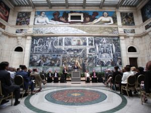 A press conference was held at the Detroit Institute of Arts last July to announce that $26.8 million in pledges were made by Michigan businesses to the DIA to help it reach its $100 million Detroit Bankruptcy Grand Bargain commitment. (Photo by Bill Pugliano/Getty Images)