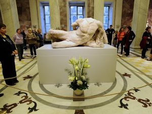 Part of the 'Elgin Marbles', named after British diplomat Lord Elgin who took them from Greece's in 1803, has left Britain for the first time since they were taken from the Parthenon, on loan the State Hermitage Museum in Russia. (AFP PHOTO/OLGA MALTSEVA (Photo credit should read OLGA MALTSEVA/AFP/Getty Images)