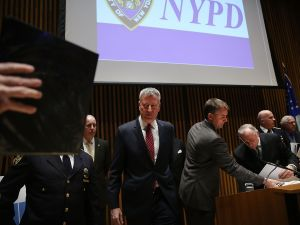 Mayor Bill de Blasio leaving a press conference at One Police Plaza.