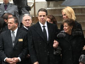 Gov. Andrew Cuomo at the funeral of his father, Mario Cuomo.