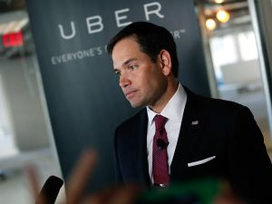 Marco Rubio at Uber headquarters (Photo: Win McNamee for Getty Images)