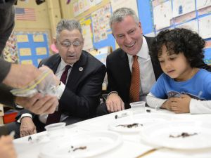 Mayor Bill de Blasio with ex-Assembly Speaker Sheldon Silver. (Photo: Susan Watts-Pool for Getty Images)