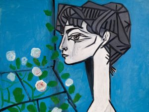 Pablo Picasso (Spanish, 1881-1973) Jacqueline aux Fleurs (Jacqueline with Flowers). (©2014 Estate of Picasso / Artists Rights Society (ARS), New York, courtesy Pace Gallery)