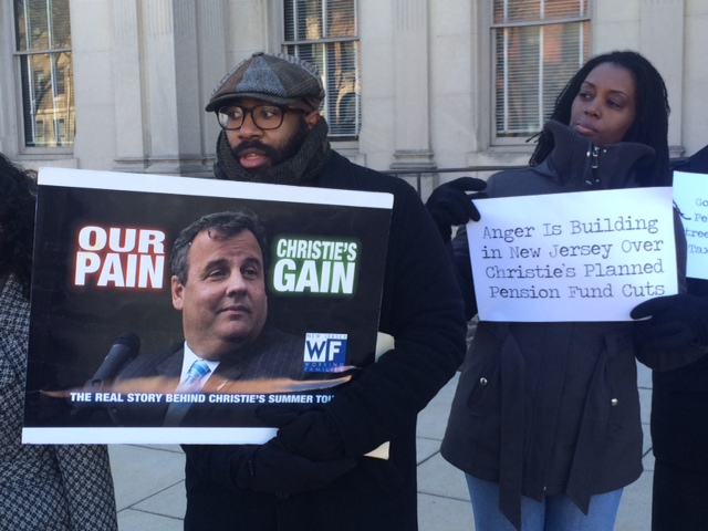 Protesters rail against Christie's record before governor's State of the State speech
