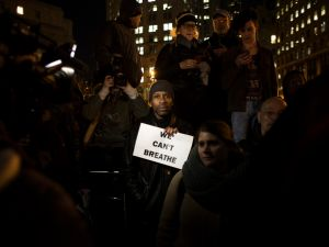 Protesters denouncing the Eric Garner grand jury decision in December. (Photo: Daniel Cole)