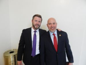 U.S. Rep. Tom MacArthur (right) celebrates with his campaign manager, Frank Luna (left).