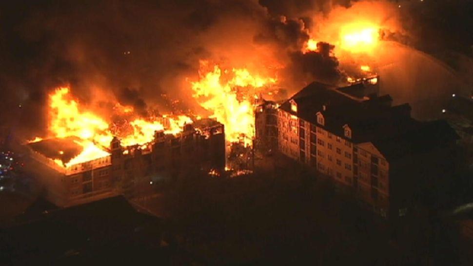 Bergen Exec Tedesco surveys scene after Edgewater fire