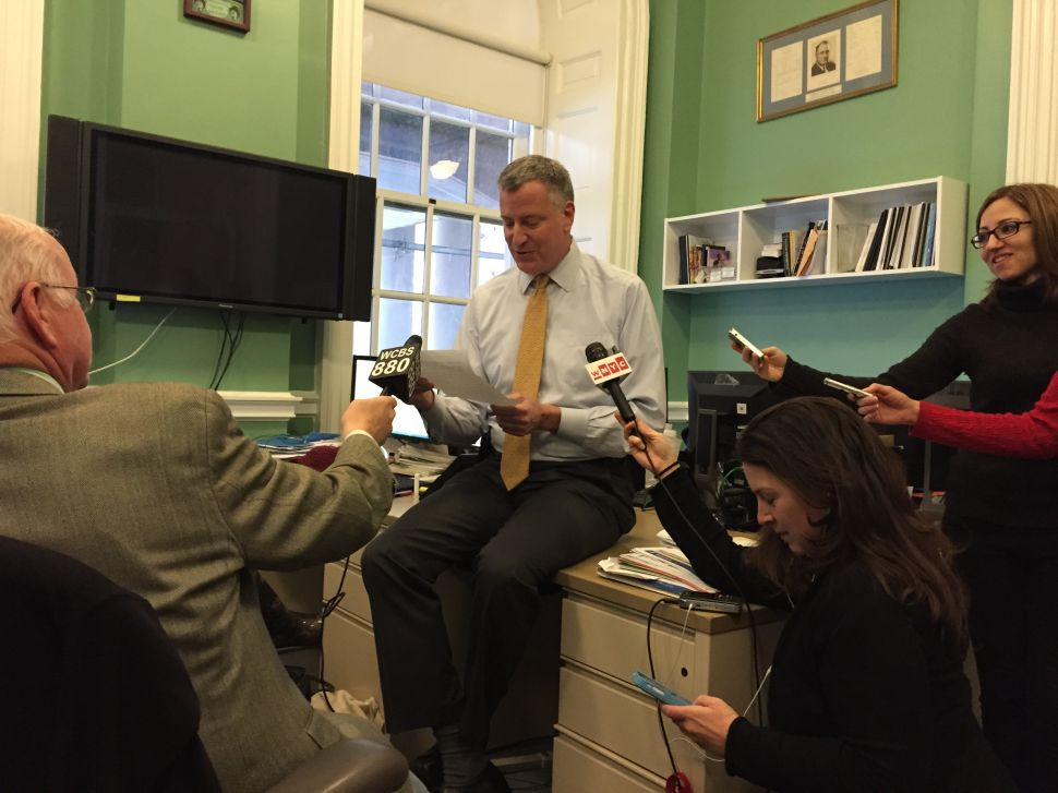 Mayor Bill de Blasio Stages a 'Dramatic Reading' of Onion Article