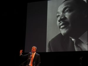 Mayor Bill de Blasio addresses the crowd at BAM (Photo: Will Bredderman).