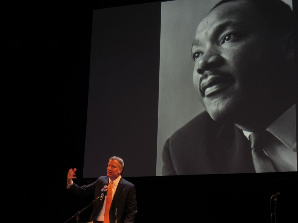 De Blasio Talks Police and Protests on Martin Luther King Jr. Day