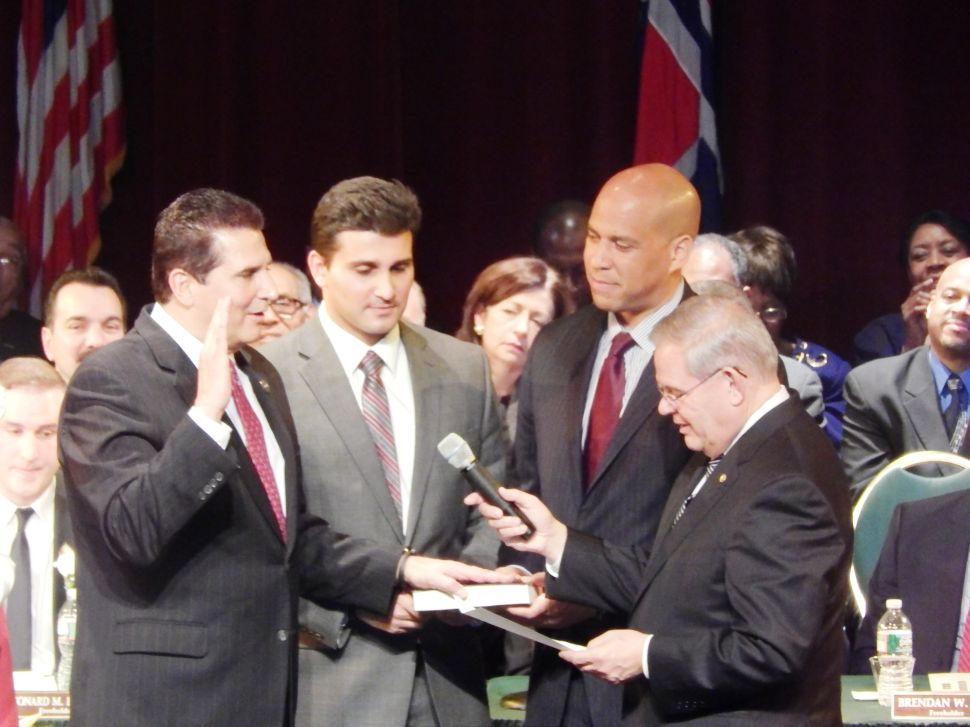 At portentous swearing-in, DiVincenzo floats Menendez and Booker for VP
