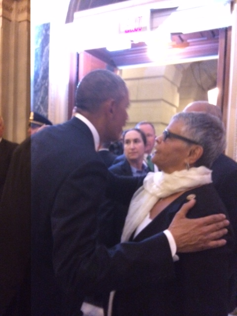 Watson Coleman and Obama embrace at the U.S. Capitol