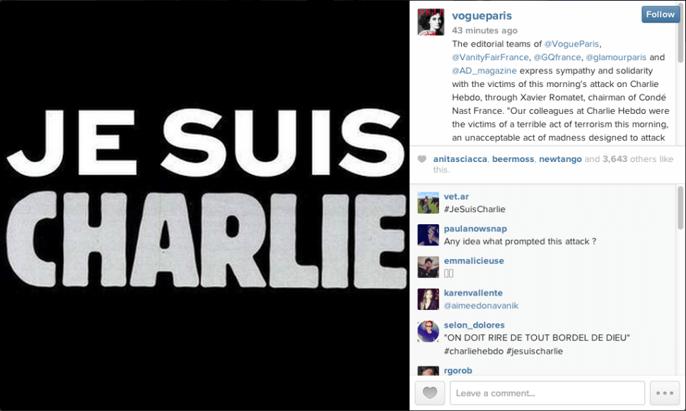 Vogue Paris Pays Tribute To Victims Of Attack On Charlie Hebdo Observer