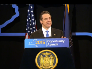Gov. Andrew Cuomo during his speech today. (Screenshot: Governor's Office)