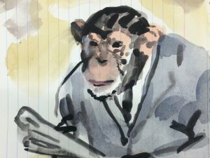 Walter Robinson, <em>Portrait of the Artist as a Young Chimpanzee</em>, 2015. (Courtesy of the artist)