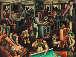 The Furniture Factory (1925), by Bumpei Usui, recently entered the Met's collection. (Purchase, Arthur Hoppock Hearn Fund, by Exchange, 2014)