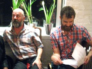 Andrew Sullivan and Matt Stone (Book of Mormon) photographed by Jill Krementz at a Christmas party on December 13, 2014