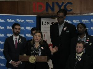 Surrounded by Council colleagues, Speaker Melissa Mark-Viverito lauded the IDNYC program.