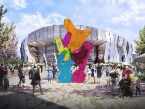 A rendering of the sculpture by Jeff Koons. (Courtesy the Sacramento Kings)