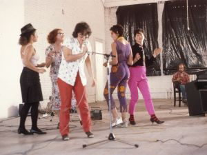 """Performance group Disband plays at MoMA PS1 in 1979, part of the """"Martha Wilson"""" exhibition at Pratt Manhattan Gallery. (Photo courtesy courtesy Independent Curators International and the artist)"""