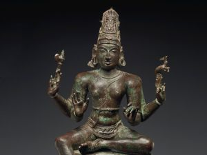 This 12th century large bronze figure of Shiva belonged to Robert Hatfield Ellsworth and is estimated to sell for $700,000 to $900,000. (Image courtesy Christie's Images Ltd. 2015)