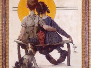 Boy and Girl Gazing at the Moon (Puppy Love). (Courtesy Norman Rockwell Museum Collection.)