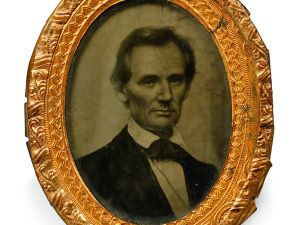 An Abraham Lincoln campaign button is up for auction this Sunday in Boston (Photo: Skinner)