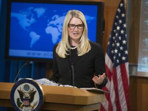 US State Department Deputy Spokesperson Marie Harf speaks about the killing of American journalist James Foley by Islamic militants, as she holds the daily press briefing at the US State Department in Washington, DC, August 20, 2014.