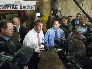 New Jersey Gov. Chris Christie and Wisconsin Gov. Scott Walker appeared together in Hudson, Wisconsin in September last year. With both of them gunning for higher office, things might no be so friendly for long. (Stephen Maturen/Getty Images)