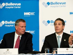 Mayor Bill de Blasio with Gov. Andrew Cuomo.