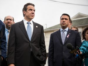 New York Governor Andrew Cuomo (L) and former New York Rep. Michael Grimm (R) NEW YORK, NY - OCTOBER 29. (Photo by Andrew Burton/Getty Images)