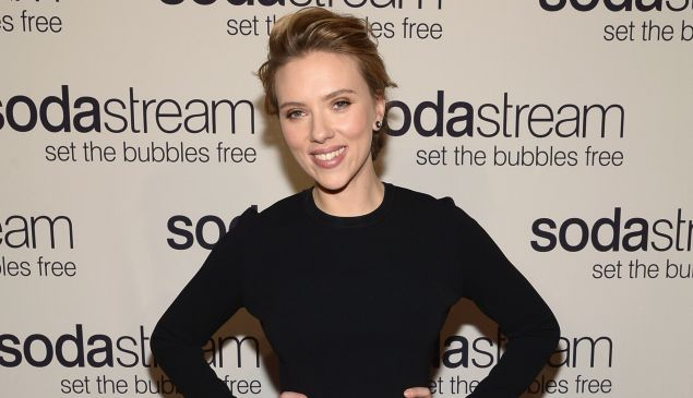 SodaStream Brand Ambassador Scarlett Johansson shown at the Gramercy Park Hotel in 2014. Johansson resigned from OxFam over the charity's opposition to all trade from Israeli settlements. (Mike Coppola/Getty Images)