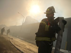 A firefighter at work in Williamsburg earlier this year. (Photo by Spencer Platt/Getty Images)
