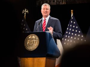 Mayor De Blasio delivers his State of The City speech on Tuesday. (Andrew Burton/Getty)