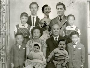 Low family portrait, ca. 1961. Courtesy of Museum of Chinese in America (MOCA) Collection.