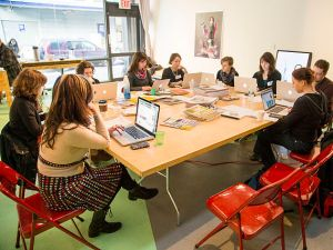 Participants at the 2014 Art+Feminism Wikipedia Edit-a-thon at Eyebeam, New York City. (Photo: CC BY-SA 4.0 Michael Mandiberg)