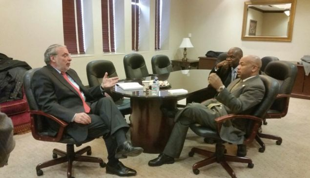 Assemblyman Dov Hikind with Assembly Speaker Carl Heastie in Borough Park, Brooklyn yesterday. (Photo: Hikind Office)