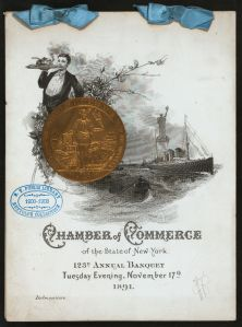Menu from Delmonico's Chamber of Commerce 123rd Annual Banquet, 1891. (Photo Credit: Rare Books Division, The New York Public Library)