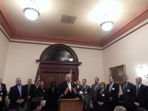 Sweeney unveils a new plan for patient-centered public healthcare are a Thursday press conference in Trenton.